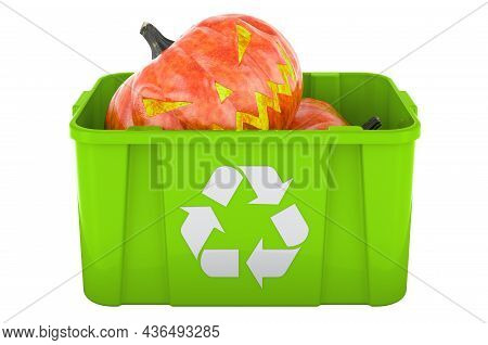 Recycling Trashcan With Halloween Pumpkin, 3d Rendering Isolated On White Background