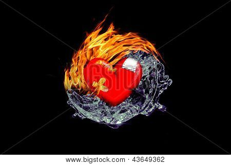 Yin Yang Fire Water Heart
