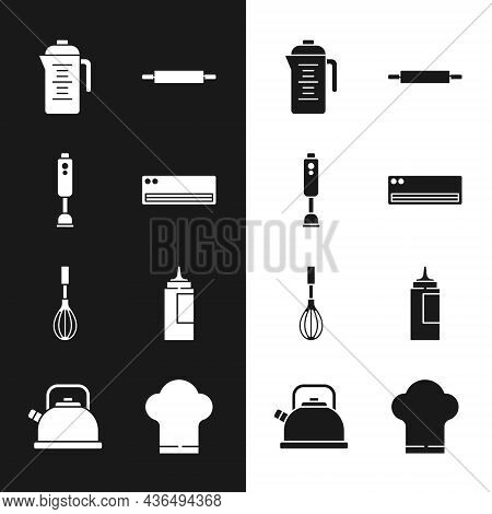 Set Air Conditioner, Blender, Teapot, Rolling Pin, Kitchen Whisk, Sauce Bottle, Chef Hat And Kettle