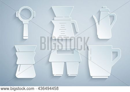 Set Coffee Cup To Go, Teapot, Pour Over Coffee Maker, And Filter Holder Icon. Vector