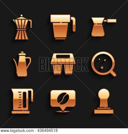 Set Coffee Cup To Go, Location With Coffee Bean, Tamper, Electric Kettle, Teapot, Turk And Moca Icon