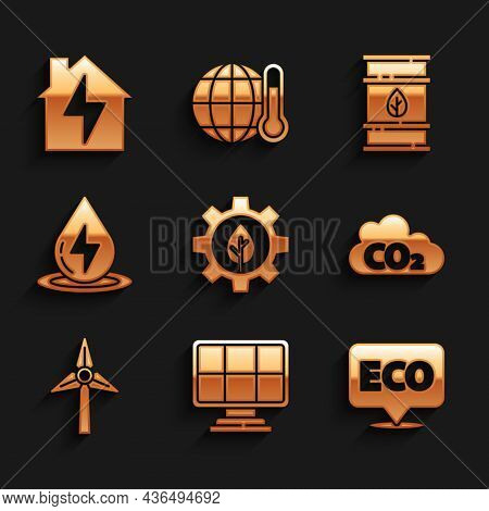 Set Leaf Plant In Gear Machine, Solar Energy Panel, Label For Eco Healthy Food, Co2 Emissions Cloud,