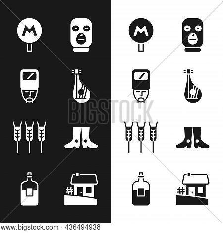 Set Bandura, Ukrainian Cossack, Metro Or Underground, Thief Mask, Wheat, Footwear, House And Bottle
