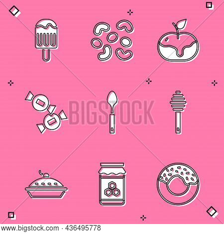 Set Ice Cream, Jelly Candy, Apple In Caramel, Candy, Spoon, Honey Dipper Stick, Homemade Pie And Jar