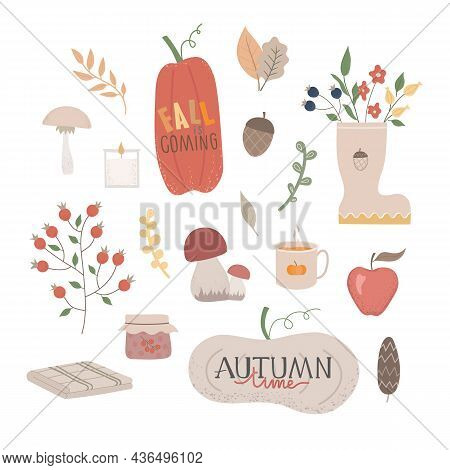 Autumn Vector Illustration Set. Fall Phrases With Cute And Cozy Design Elements Decorative Bundle. C