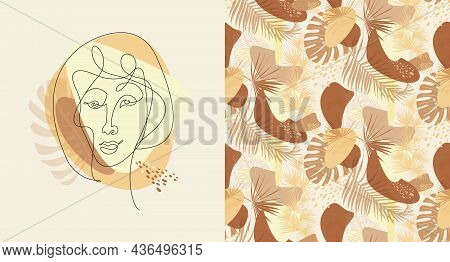Set Of Portrait Painted In The Style Of Matisse In One Line And Modern Pattern With Natural Shapes A
