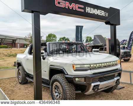 Loveland, CO, USA - August 29, 2021: GMC HUMMER EV pickup, all-electric truck at Overland Expo Mountain West.
