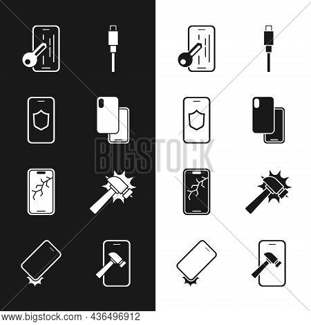 Set Smartphone, Mobile With Shield, Glass Screen Protector, Usb Cable Cord, Broken, Hammer, And Shoc