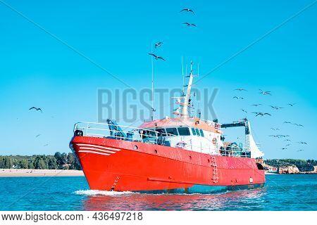 Close Shot Of Fishing Boat Or Trawler Sailing In Atlantic Ocean
