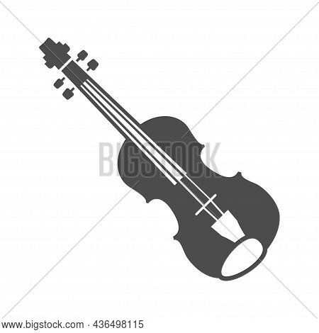 Monochrome Violin Icon Vector Illustration. Classical Wooden Strings Musical Instrument Isolated