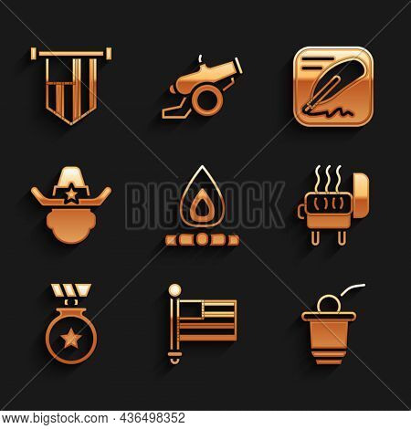 Set Campfire, American Flag, Beer Pong Game, Barbecue Grill, Medal With Star, Sheriff Cowboy, Declar