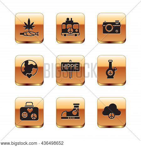 Set Marijuana Joint, Spliff, Suitcase For Travel, Sneakers, Peace, The Heart World - Love, Photo Cam