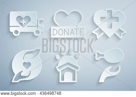 Set Animal Shelter House, Heart With Cross, Pleasant Relationship, Donation Food, And Charity And Hu