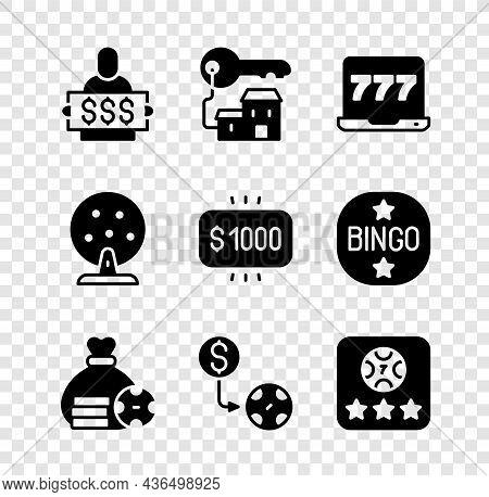 Set Winner Holding Prize Ticket, Winning House With Key, Laptop And Slot Machine, Money Bag, Casino