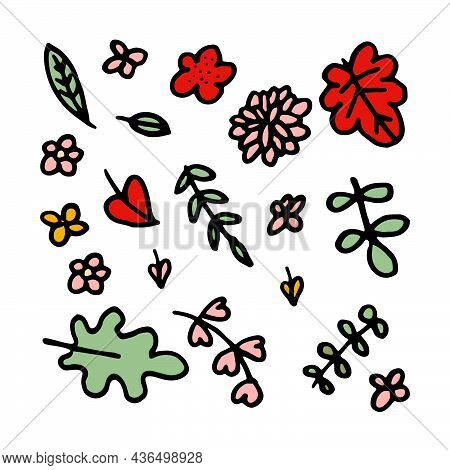 Set Of Hand Drawn Leaves, Green Leaf, Sketches And Doodles Of Leaf And Plants, Green Leaves Vector C