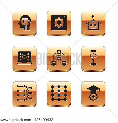 Set Humanoid Robot, Neural Network, Server, Data, Artificial Intelligence, Graduation Cap And Comput