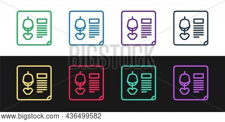 Set Line X-ray Shots Icon Isolated On Black And White Background. Vector Illustration