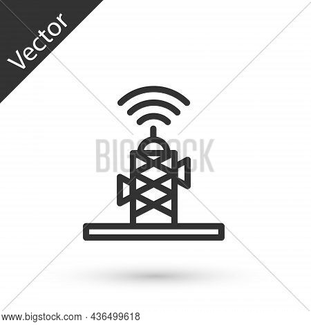 Grey Line Wireless Antenna Icon Isolated On White Background. Technology And Network Signal Radio An
