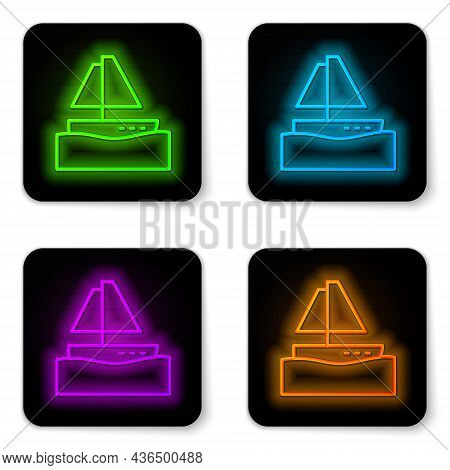 Glowing Neon Line Yacht Sailboat Or Sailing Ship Icon Isolated On White Background. Sail Boat Marine