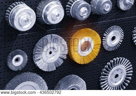 Set Of Various Disk Brushes. Round Brushes With Metal Pile Or Bristles For Processing Materials. Ind