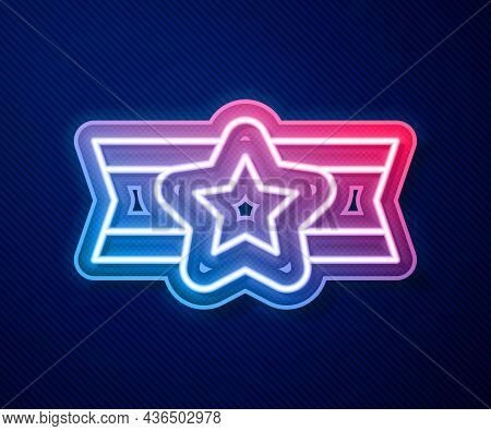 Glowing Neon Line Star American Military Icon Isolated On Blue Background. Military Badges. Army Pat