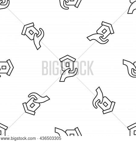 Grey Line Shelter For Homeless Icon Isolated Seamless Pattern On White Background. Emergency Housing