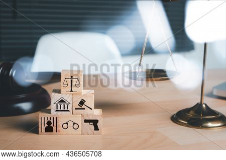 Law Icon On Wooden Cube With Copy Space, Terrorism, Crime, Judgment, Verdict, Justice And Law Concep