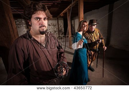 Aggressive live action role playing game medieval characters poster