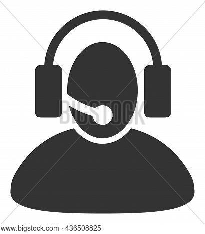 Call Center Operator Vector Illustration. A Flat Illustration Design Of Call Center Operator Icon On