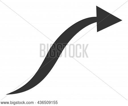 Curve Arrow Vector Icon. A Flat Illustration Design Of Curve Arrow Icon On A White Background.