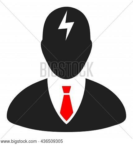Boss Headache Vector Icon. A Flat Illustration Design Of Boss Headache Icon On A White Background.