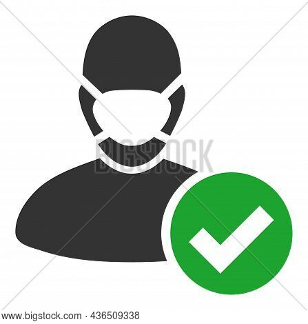 Valid Masked Man Vector Icon. A Flat Illustration Design Of Valid Masked Man Icon On A White Backgro