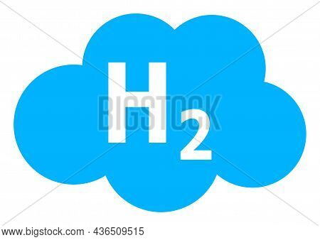 Hydrogen Cloud Vector Illustration. A Flat Illustration Design Of Hydrogen Cloud Icon On A White Bac