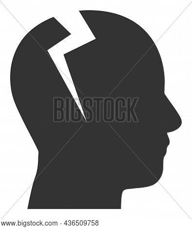 Head Migrain Ache Vector Icon. A Flat Illustration Design Of Head Migrain Ache Icon On A White Backg