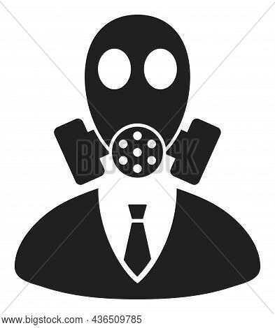 Gasmask Boss Vector Icon. A Flat Illustration Design Of Gasmask Boss Icon On A White Background.