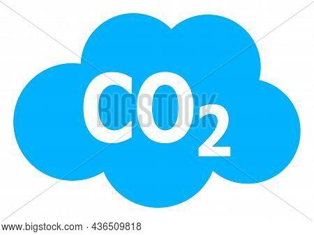 Carbon Dioxide Cloud Vector Icon. A Flat Illustration Design Of Carbon Dioxide Cloud Icon On A White