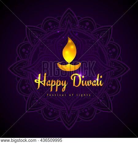 Happy Diwali Vector Holiday Illustration. Design Template On Dark Background. Diwali Festive Card Wi