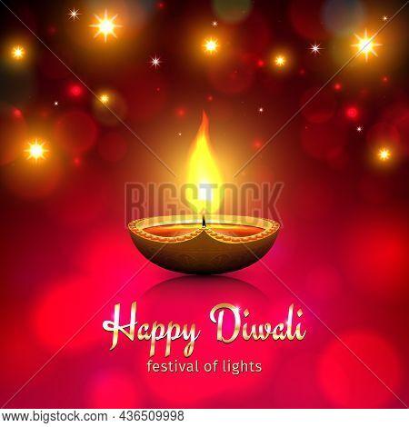 Happy Diwali Vector Illustration. Festive Diwali Card. Design Template With Lamp, Golden Lights, Bok