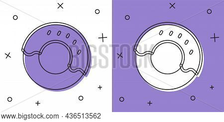 Set Donut With Sweet Glaze Icon Isolated On White And Purple Background. Vector