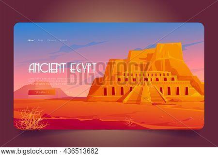 Ancient Egypt Cartoon Landing Page, Mortuary Temple Of Queen Hatshepsut In Deir Al-bahri, World Famo