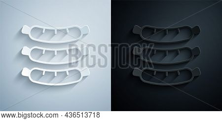 Paper Cut Sausage Icon Isolated On Grey And Black Background. Grilled Sausage And Aroma Sign. Paper