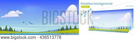 Scenery Summer Landscape, Parallax Nature 2d Background, Pond, Green Field And Spruces Under Blue Cl