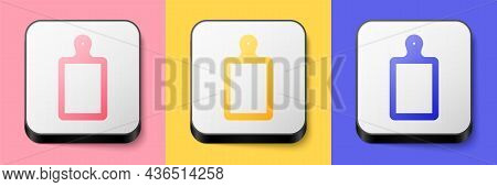 Isometric Cutting Board Icon Isolated On Pink, Yellow And Blue Background. Chopping Board Symbol. Sq