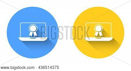 White Online Education With Diploma Icon Isolated With Long Shadow Background. Diploma Online At Hom