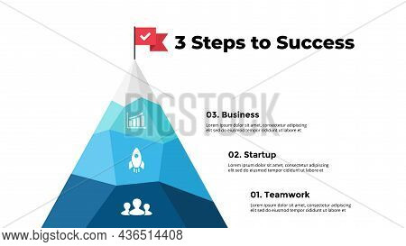 Route To Success Infographic. Mountain Peak. Presentation Slide Template. Diagram Chart With 3 Steps