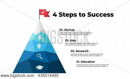 Route To Success Infographic. Mountain Peak. Presentation Slide Template. Diagram Chart With 4 Steps