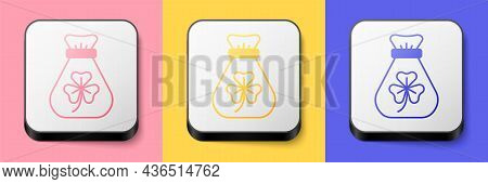 Isometric Money Bag With Clover Trefoil Leaf Icon Isolated On Pink, Yellow And Blue Background. Happ
