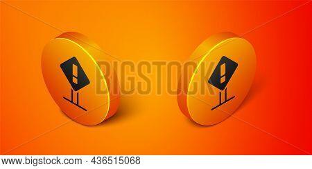 Isometric Exclamation Mark In Square Frame Icon Isolated On Orange Background. Hazard Warning Sign,