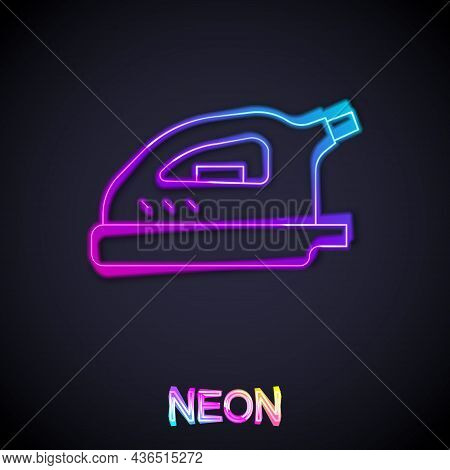 Glowing Neon Line Electric Iron Icon Isolated On Black Background. Steam Iron. Vector