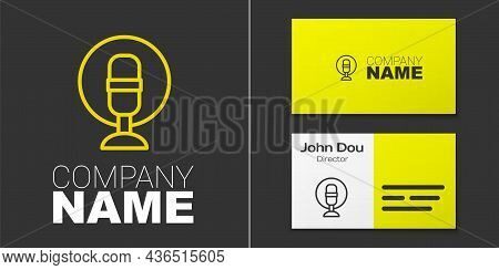 Logotype Line Microphone Icon Isolated On Grey Background. On Air Radio Mic Microphone. Speaker Sign